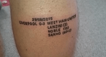 Fanático se tatuó la goleada del West Ham al Liverpool