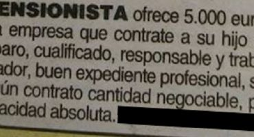 En España, pensionado ofrece 5 mil euros a quien le dé trabajo a su hijo