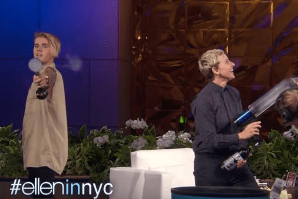 Durante el programa de Ellen DeGeneres, Justin Bieber rompió una cámara