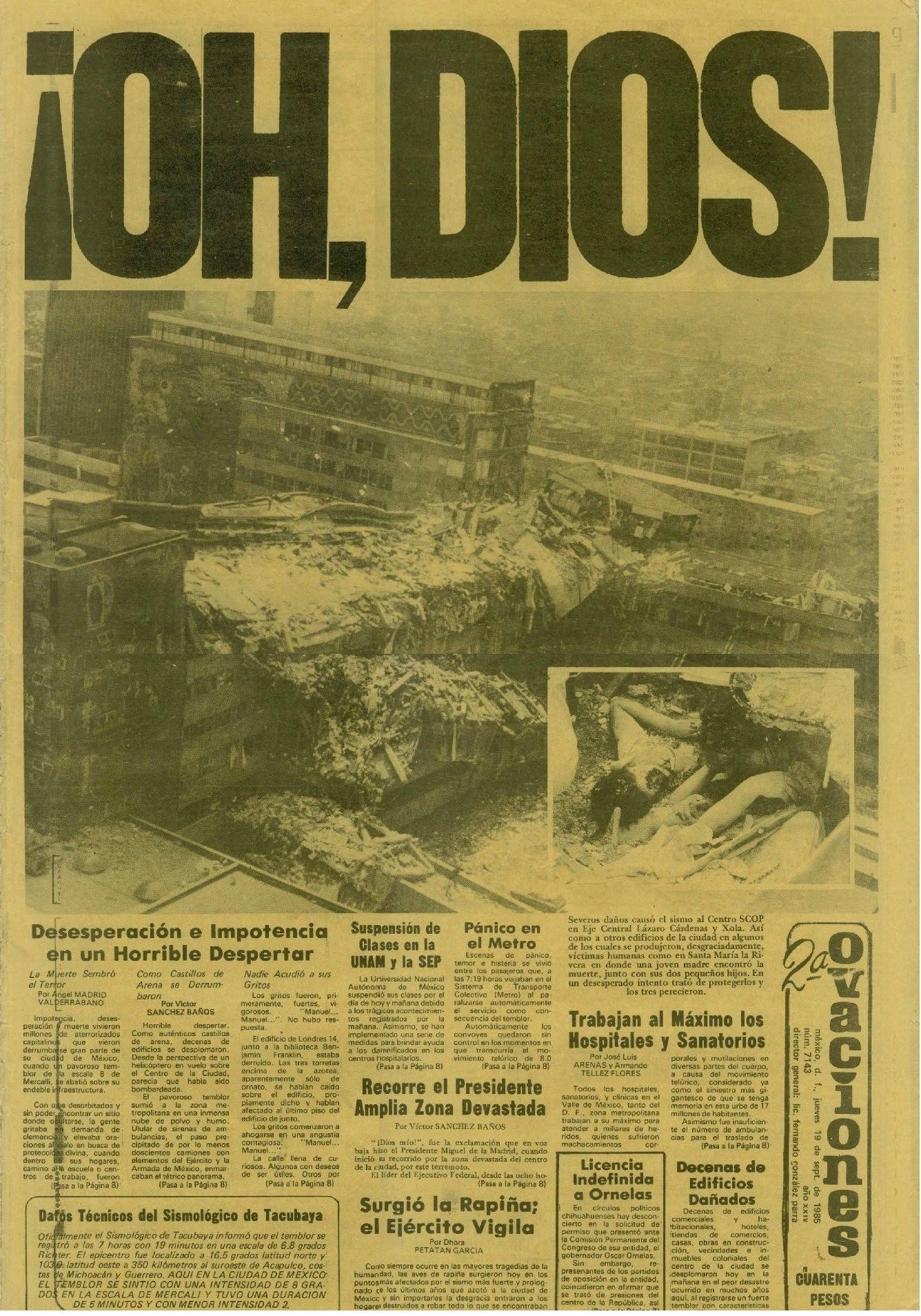 periodico sismo 1985