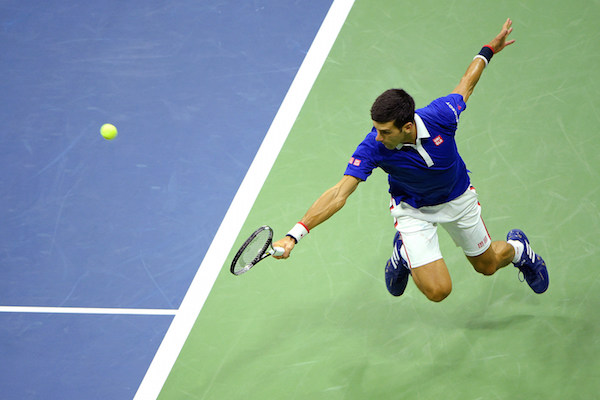 September 13, 2015 - Novak Djokovic in action against Roger Federer (not pictured) in the men's singles final match during the 2015 US Open at the USTA Billie Jean King National Tennis Center in Flushing, NY. (USTA/Pete Staples)