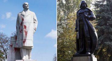 Inédito: Artista convierte estatua de Lenin en Darth Vader