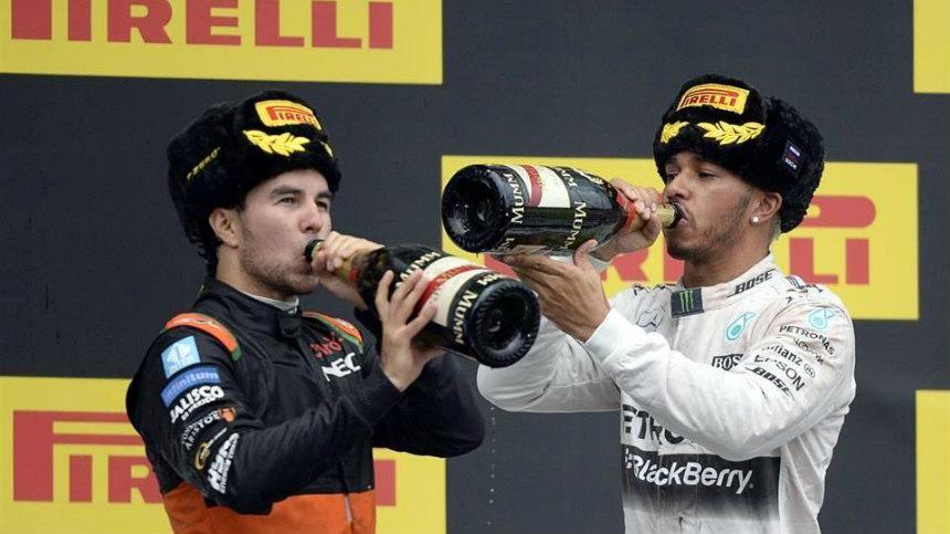 Checo Pérez es 3ero y sube al podio en el Gran Premio de Rusia