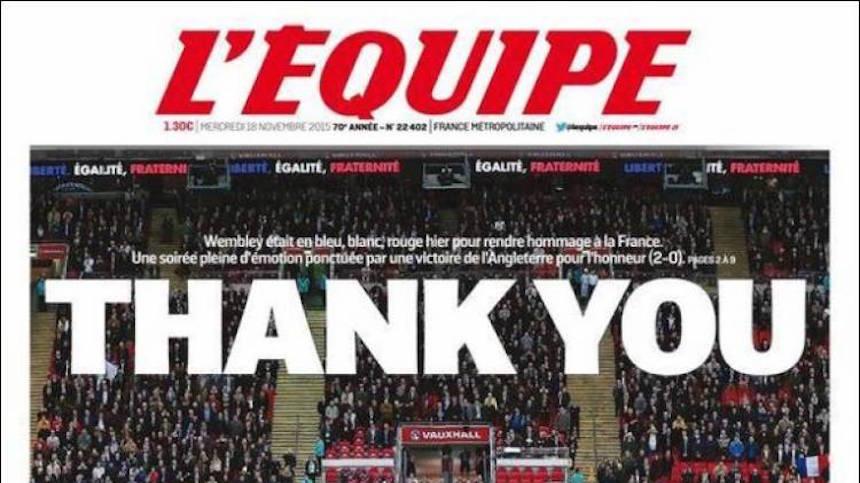 L'Equipe agradece a Wembley en su portada