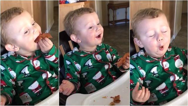 Awww, ve la reacción de este niño al probar por primera vez el tocino