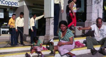 Tienda Coppel agrede a indigentes y los corre con chorros de agua