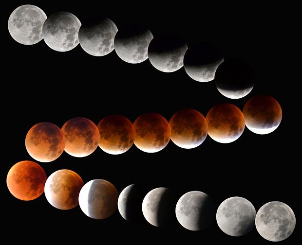 Eclipse lunar por la noche fotografiado por Iain Petrie