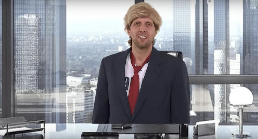 Dirk Nowitzki imita de manera espléndida a Donald Trump