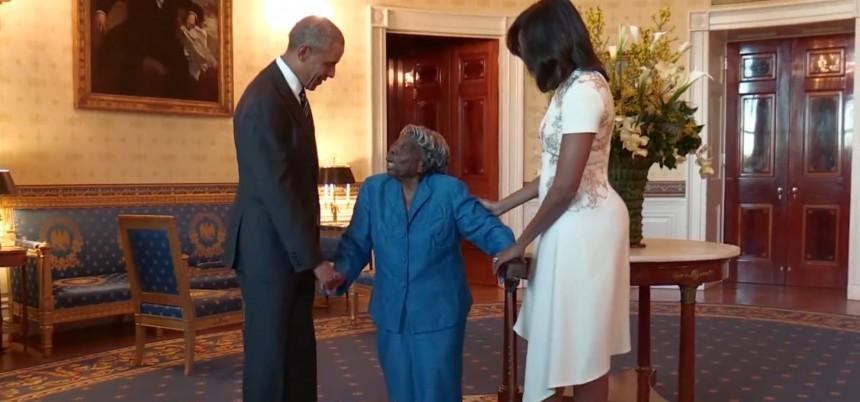 La increíble reacción de esta mujer de 106 años al conocer a Barack Obama