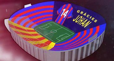 Así se verá el mosaico dedicado a Cruyff en el Clásico Español