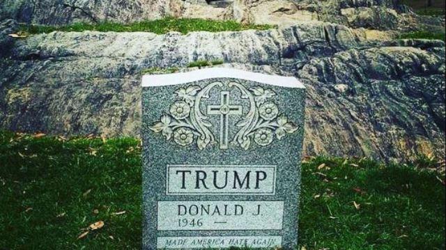 Aparece una lápida con el nombre de Donald Trump en Central Park