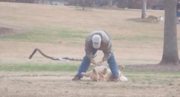 ¡No se pueden perder a este perrito haciéndose el muerto para no salir del parque!