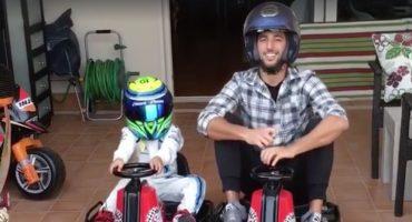 Daniel Ricciardo pierde ante el hijo de Massa en la carrera más tierna que verás