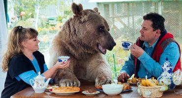 ¡Esta es la familia que tiene a un oso de mascota!