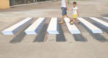 Las pinturas en 3D que están evitando accidentes en La India