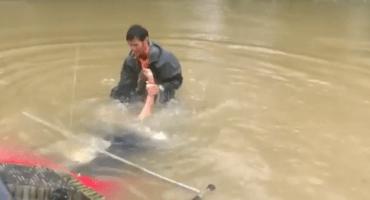 Mujer es rescatada dramáticamante de un auto que se hundía