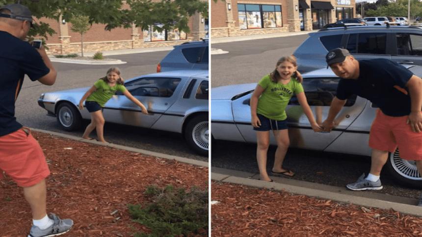 La emotiva reacción de una niña al ver por primera vez un DeLorean