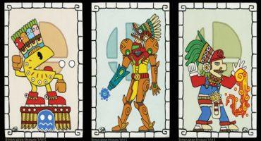 Un artista transformó los personajes de Nintendo en increíbles pinturas mayas
