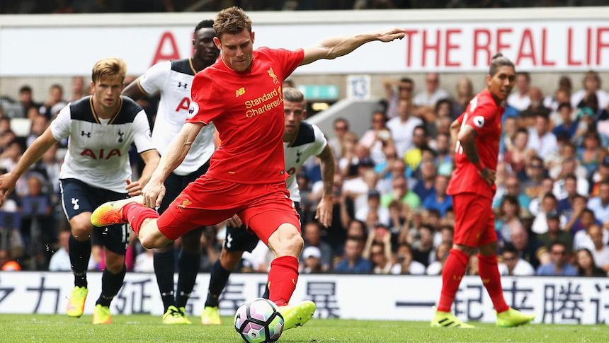 James Milner al momento de cobrar el penal contra el Tottenham