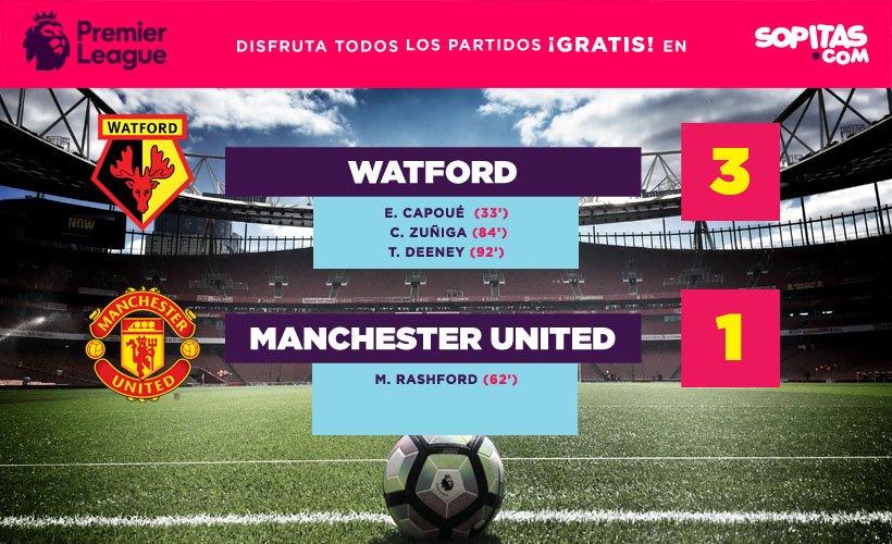 Watford venció 3-1 al Manchester United y dio la sorpresa en la Premier League