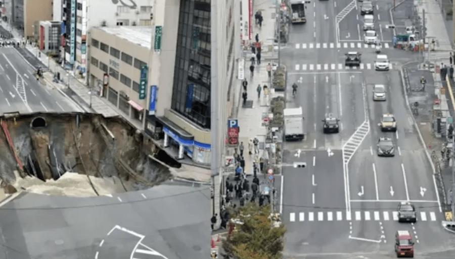 En Japón repararon un enorme bache en menos de una semana