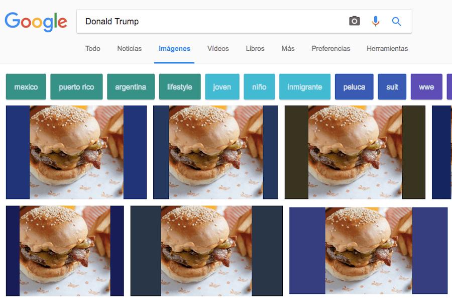 Una extensión que cambia la cara de Donald Trump por una hamburguesa