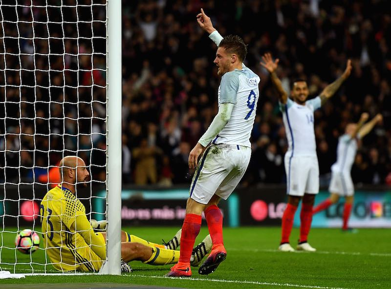 ¡A lo Vardy! Checa el festejo del delantero de Leicester al jugar con Inglaterra
