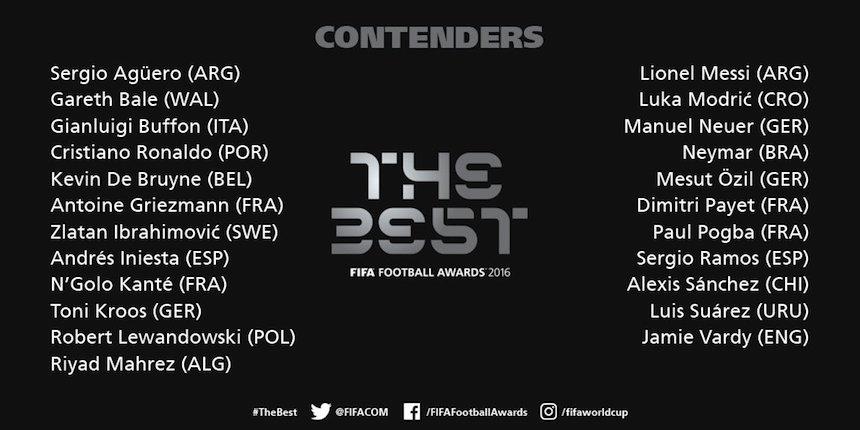 Son 23 los nominados para el premio The best