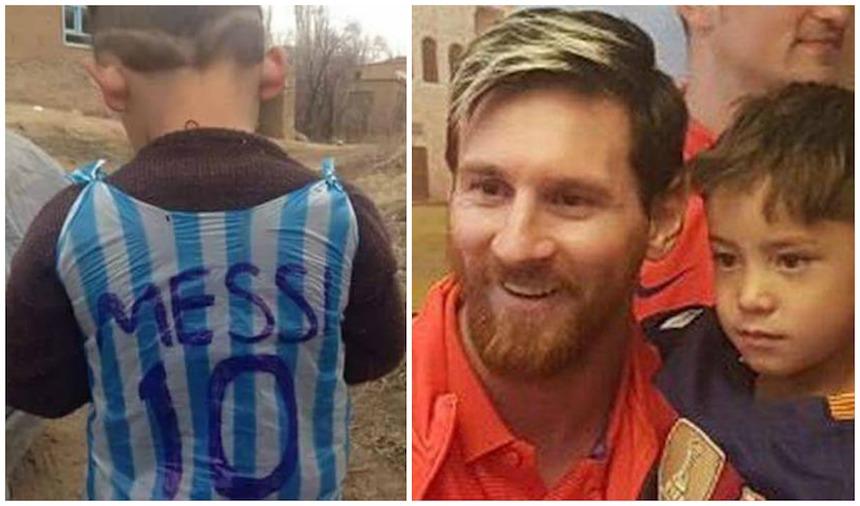 Messi sorprende al niño que hizo su playera con una bolsa de plástico