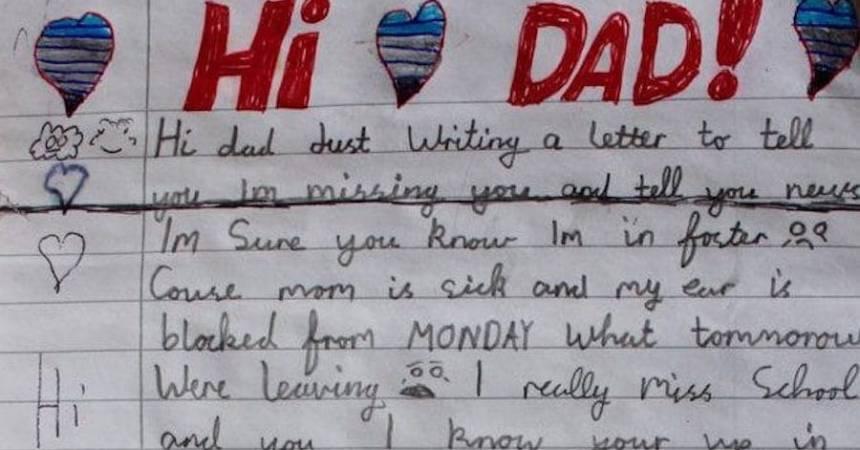 Carta de un niñito a su papá