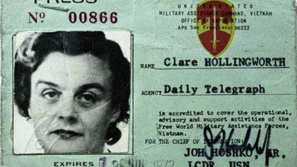A los 105 años, murió Clare Hollingworth la reportera que informó el inicio de la Segunda Guerra Mundial