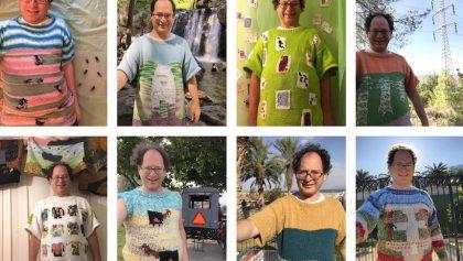 Este genio teje suéteres y se saca fotos con las cosas que lo inspiran