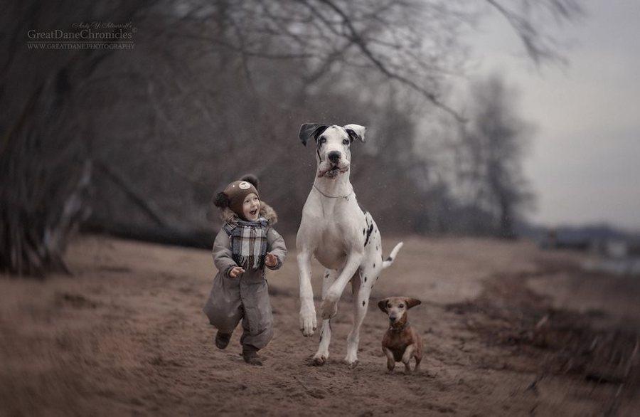 Perrito junto a un niño