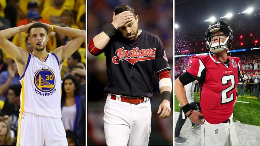 Falcons, Warriors e Indians perdiendo sus finales