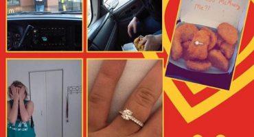 ¿Dicen que no hay románticos? sujeto pide matrimonio con un nugget de pollo