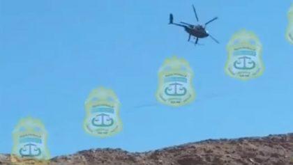 Momento en que helicóptero de la PEP de BC cae