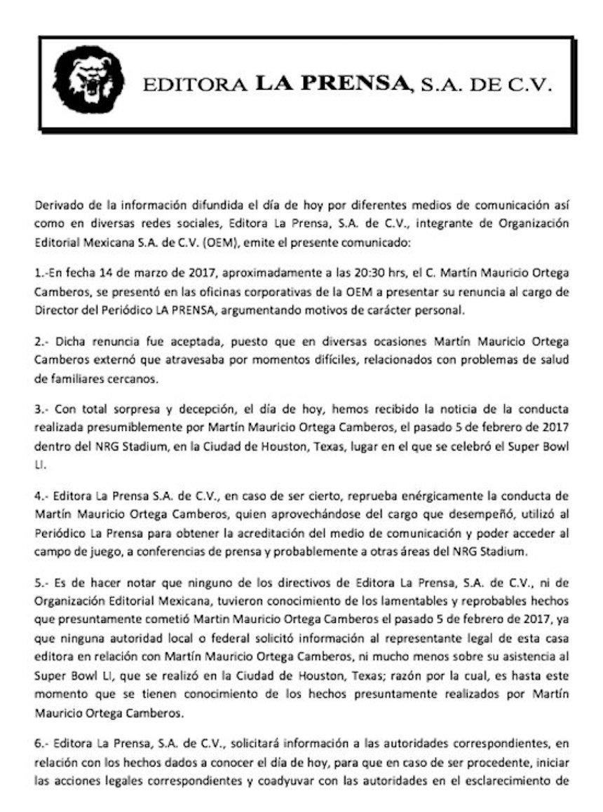 comunicado de prensa sobre Mauricio Ortega