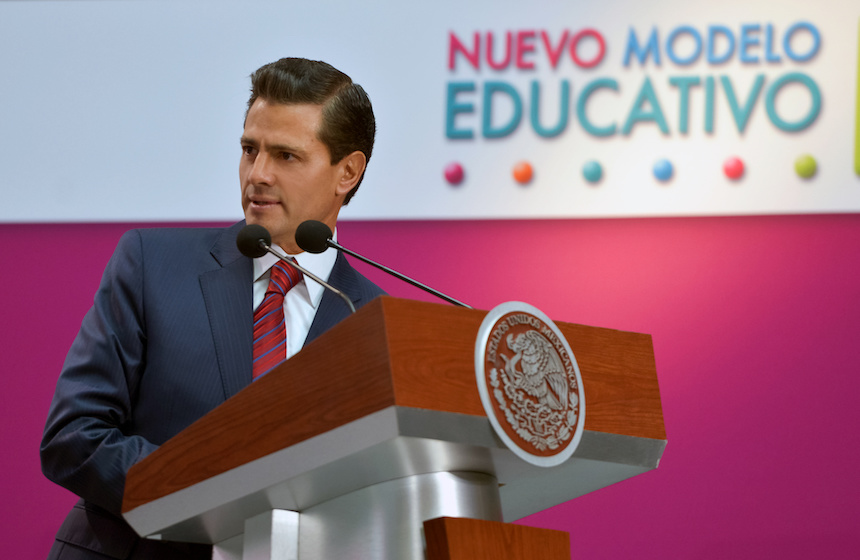 El presidente Enrique Peña Nieto durante la presentación del nuevo modelo educativo