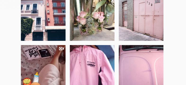 Fotos en Instagram color 'millenial pink'