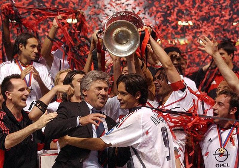 Carlo Ancelotti Campeon con el Milan