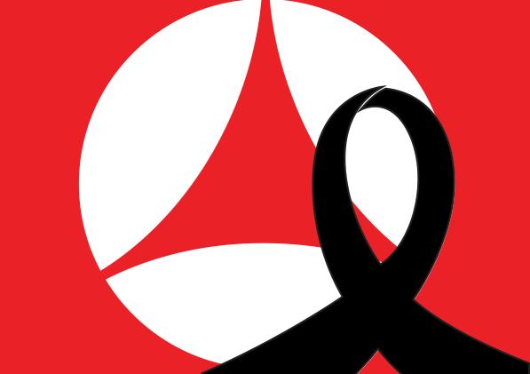 Símbolo del periódico Norte con listón de luto.