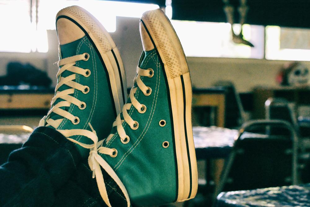 Tenis verdes tipo Convers