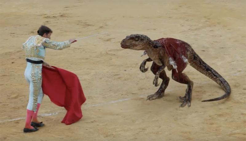 Stop Corrida: Una campaña muestra una corrida de toros con dinosaurios