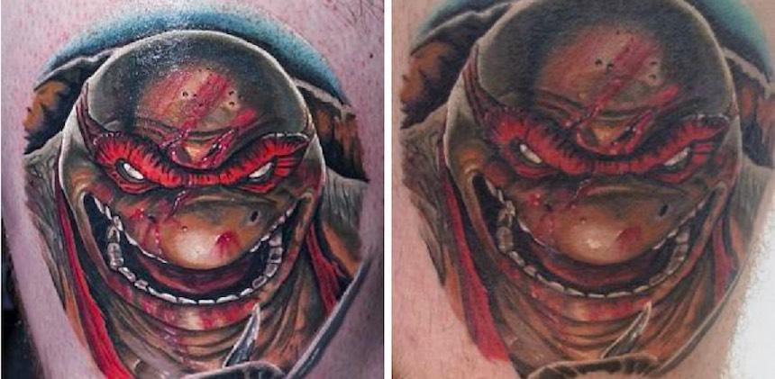 Imágenes que muestran el antes y después de varios tatuajes