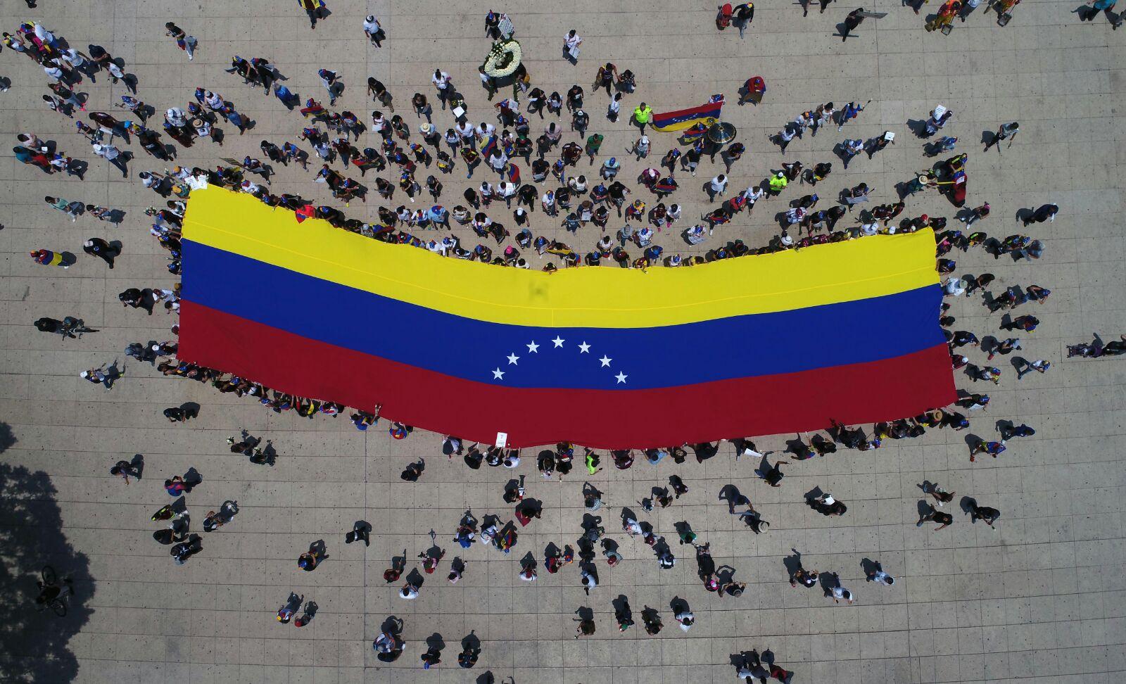 Bandera de Venezuela vista desde las alturas
