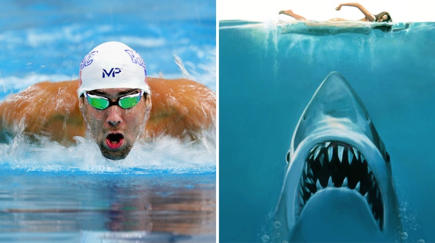 Michael Phelps nadará en contra de un tiburón blanco... sí un tiburón