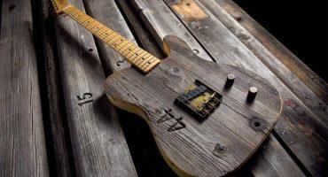 Fender lanza espectácular línea de guitarras hechas con bancas de madera