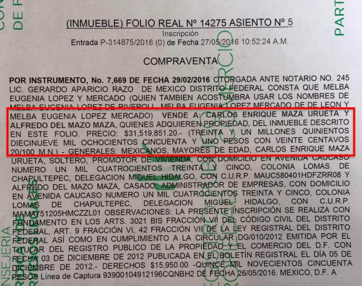 Documento, compra de casa Alfredo del Mazo