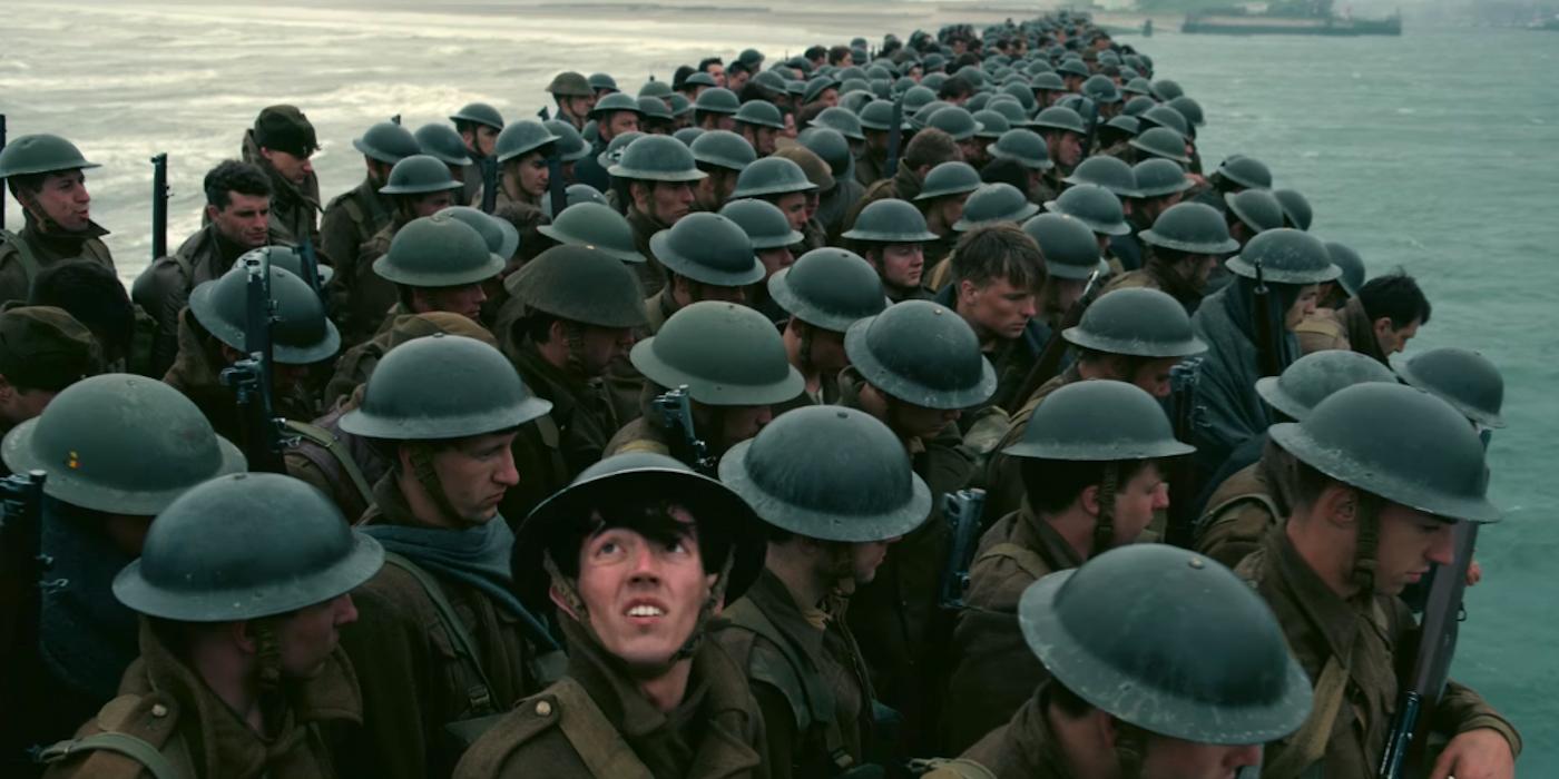 Soldados en un still de 'Dunkirk', película de Nolan de 2017.