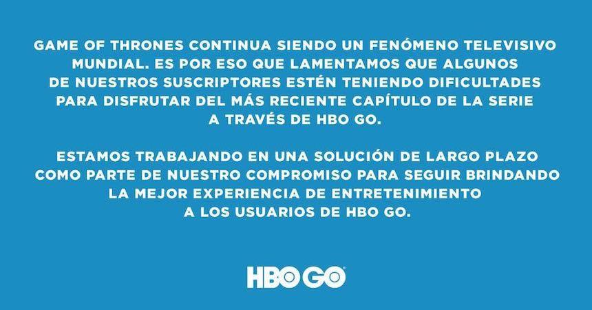 Comunicado ante la segunda caída de HBO GO